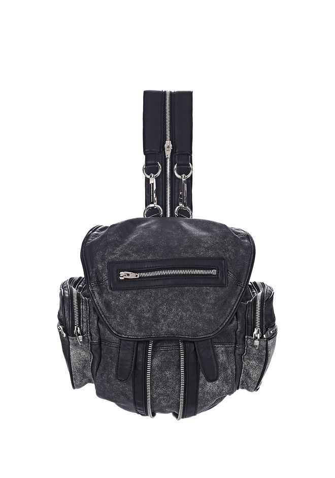 ALEXANDER WANG BACKPACKS Women MARTI IN CRACKED BLACK AND WHITE WITH RHODIUM