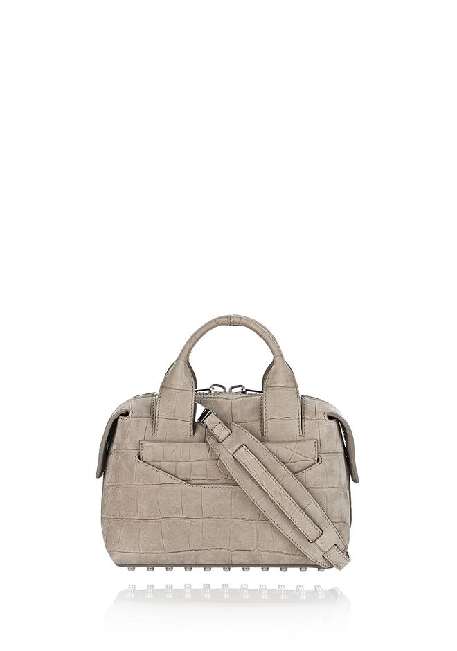 ALEXANDER WANG Shoulder bags ROGUE SMALL SATCHEL IN CROC EMBOSSED AND NUBUCK SAGE WITH RHODIUM