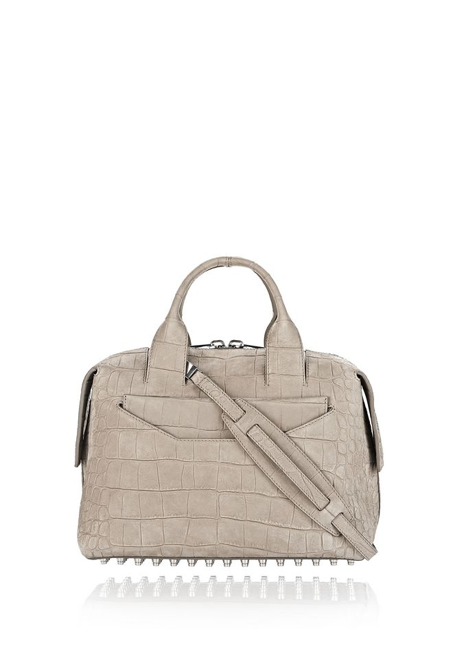 ALEXANDER WANG new-arrivals-bags-woman ROGUE LARGE SATCHEL IN CROC EMBOSSED AND NUBUCK SAGE WITH RHODIUM