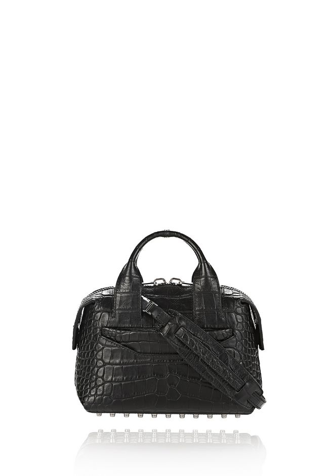 ALEXANDER WANG new-arrivals-bags-woman ROGUE SMALL SATCHEL IN MATTE CROC EMBOSSED BLACK WITH RHODIUM