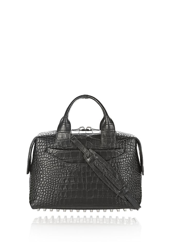 ALEXANDER WANG new-arrivals ROGUE LARGE SATCHEL IN MATTE CROC EMBOSSED BLACK WITH RHODIUM