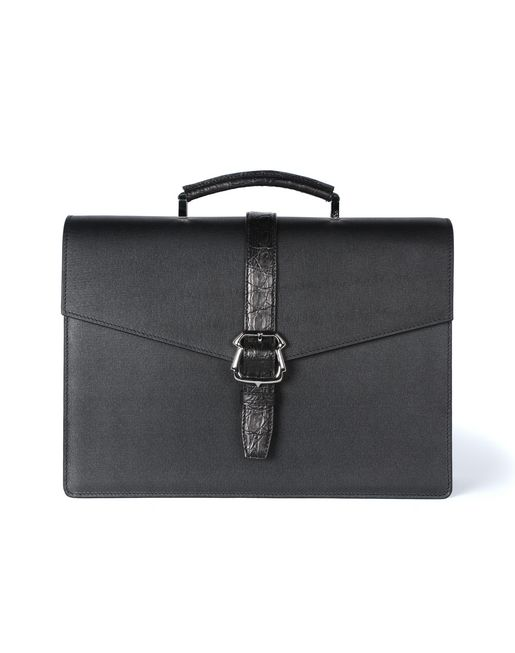 Calfskin briefcase with buckle
