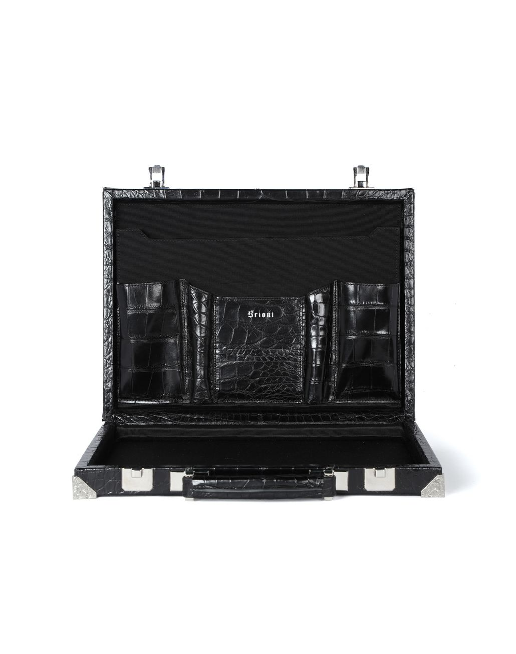BRIONI Attaché case ultra-fin en crocodile Serviette Homme d