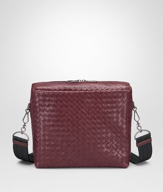 MESSENGER BAG IN BAROLO INTRECCIATO CALF AND NAPPA
