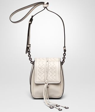 SHOULDER BAG IN MIST NAPPA LEATHER, INTRECCIATO DETAILS