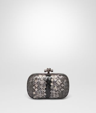 KNOT CLUTCH IN NEW LIGHT GREY ARDOISE INTRECCIATO AYERS CLUB LEATHER