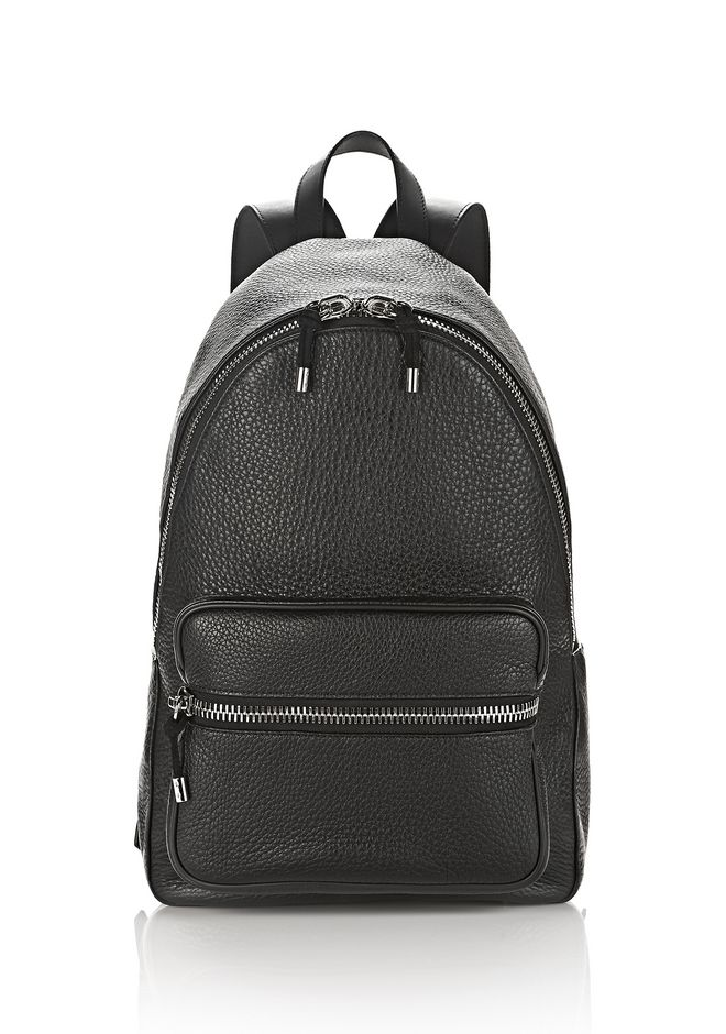 ALEXANDER WANG BACKPACKS Men BERKELEY BACKPACK IN SOFT PEBBLED BLACK WITH RHODIUM