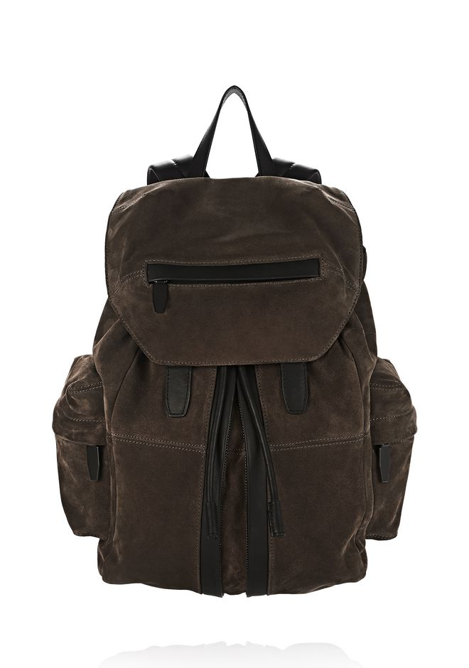 ALEXANDER WANG BACKPACKS Men MARTI IN GREY FINE CALF SUEDE WITH MATTE BLACK