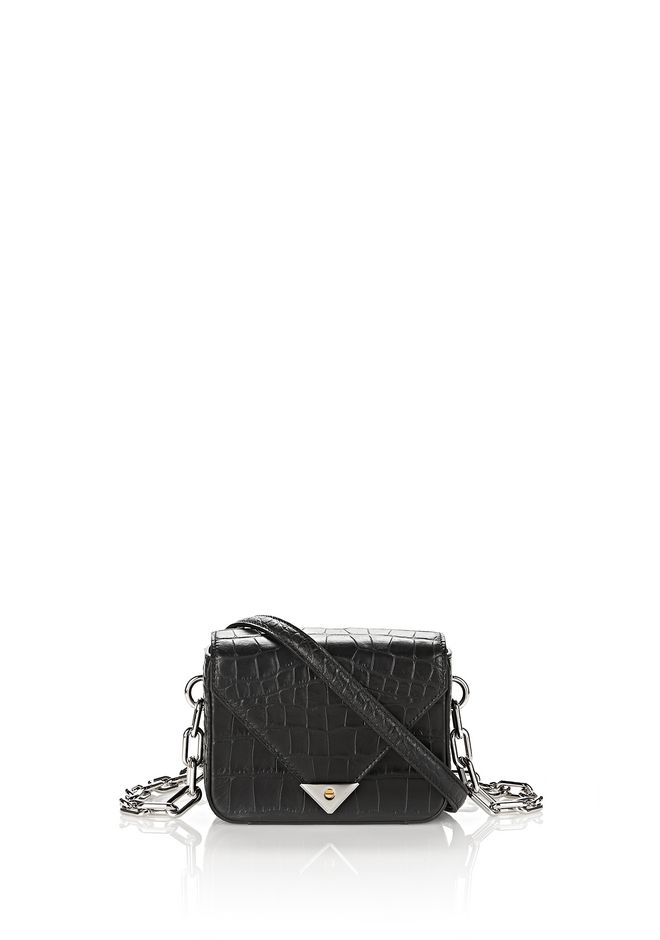 ALEXANDER WANG MESSENGER BAGS Women EXCLUSIVE CROC EMBOSSED MINI PRISMA ENVELOPE CHAIN SLING WITH RHODIUM