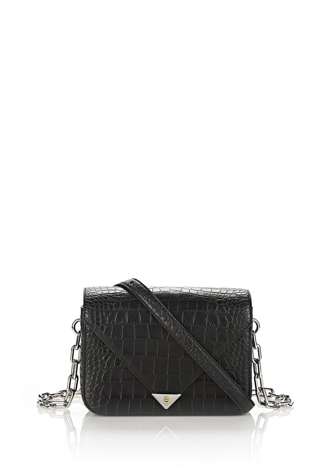 ALEXANDER WANG exclusives EXCLUSIVE CROC EMBOSSED PRISMA ENVELOPE CHAIN SLING WITH RHODIUM