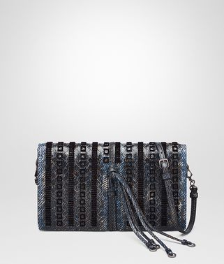 CLUTCH BAG IN PACIFIC INTERCCIATO KARUNG, EMBROIDERED DETAILS