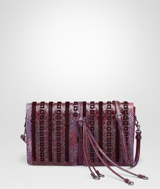 CLUTCH BAG IN PEONY INTERCCIATO KARUNG, EMBROIDERED DETAILS