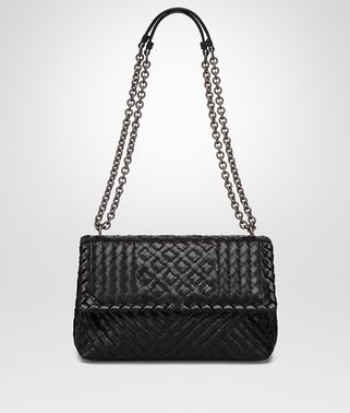 SMALL OLIMPIA BAG IN NERO INTRECCIATO CALF, EMBROIDERED DETAILS