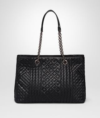MEDIUM TOTE BAG IN NERO INTRECCIATO CALF LEATHER, EMBROIDERED DETAILS