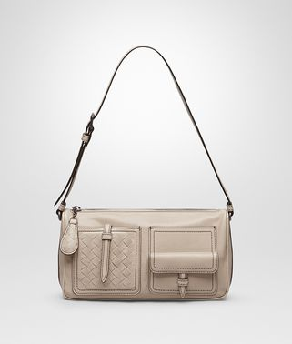 SHOULDER BAG IN MINK CALF, INTRECCIATO DETAILS