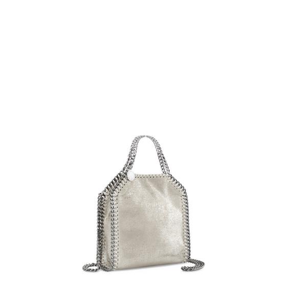 Platinum Falabella Shiny Dotted Chamois Mini Tote
