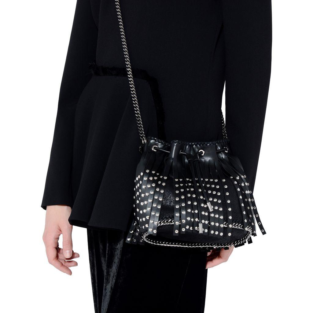 Black Falabella Studded Fringed Bucket Bag - STELLA MCCARTNEY