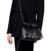 STELLA McCARTNEY Black Falabella Studded Fringed Bucket Bag Falabella Shoulder Bags D a