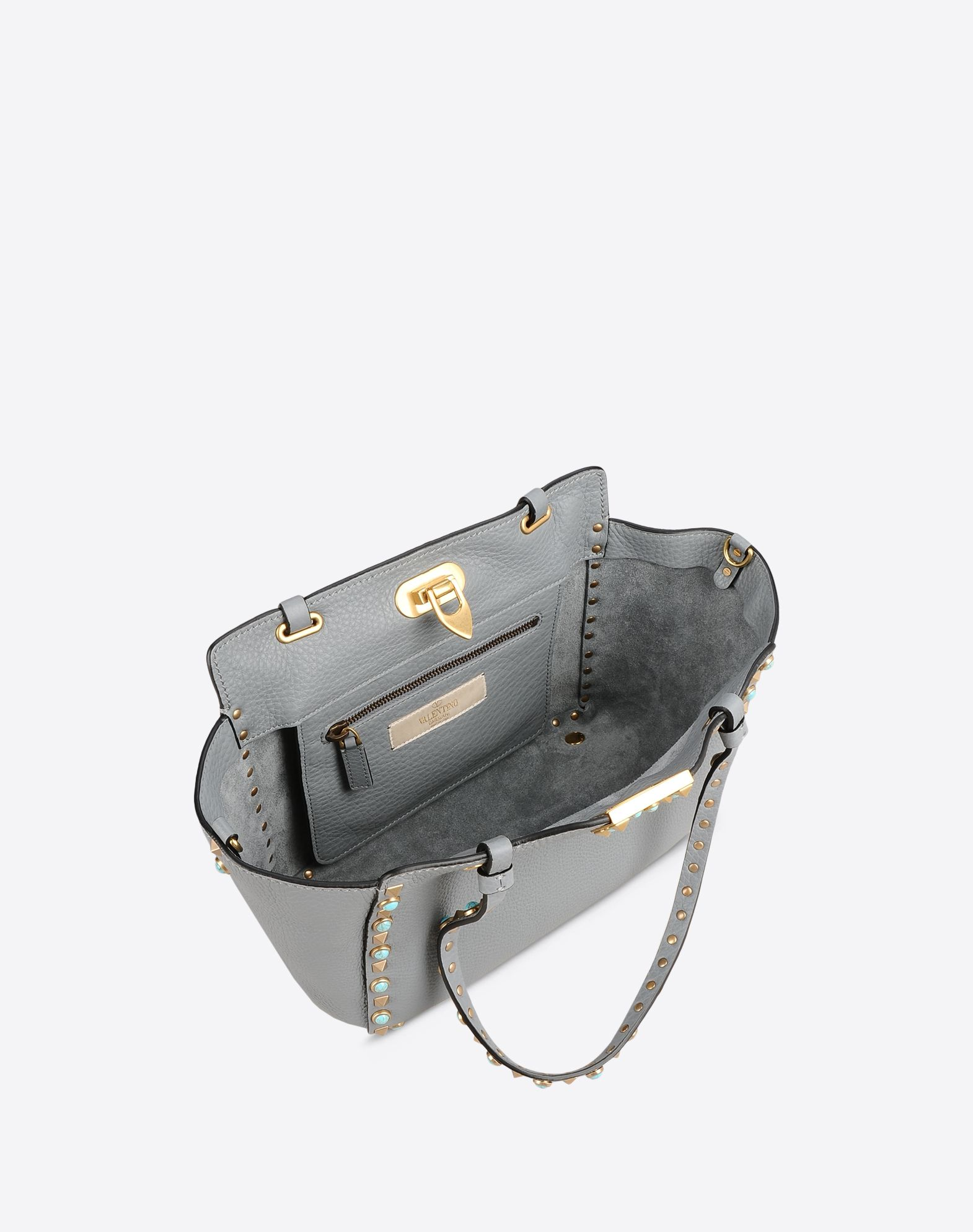 VALENTINO Double handle Textured leather Logo Metal Applications Removable shoulder strap Framed closure Internal zip pocket  45320722nn