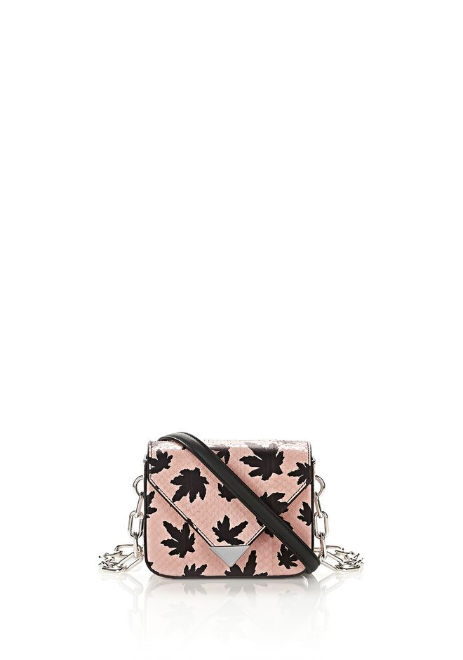 ALEXANDER WANG Shoulder bags Women MINI PRISMA ENVELOPE CHAIN SLING IN PINK ELAPHE WITH LEAF PRINT