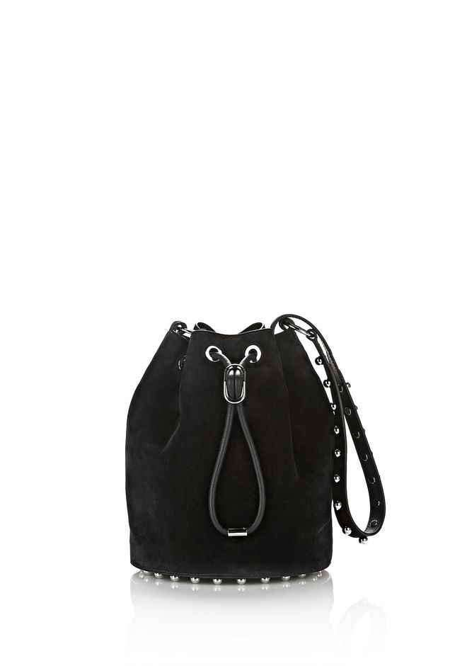 ALEXANDER WANG Shoulder bags Women ALPHA SUEDE BUCKET IN BLACK WITH BALL STUDS