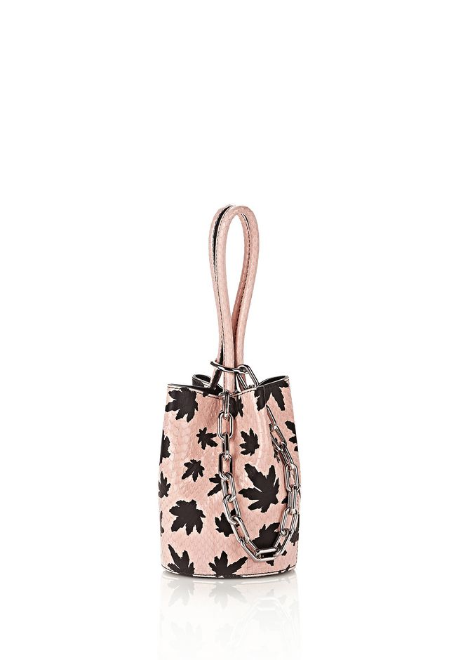 ALEXANDER WANG mini-bags RUNWAY ROXY MINI BUCKET IN PINK ELAPHE WITH LEAF PRINT
