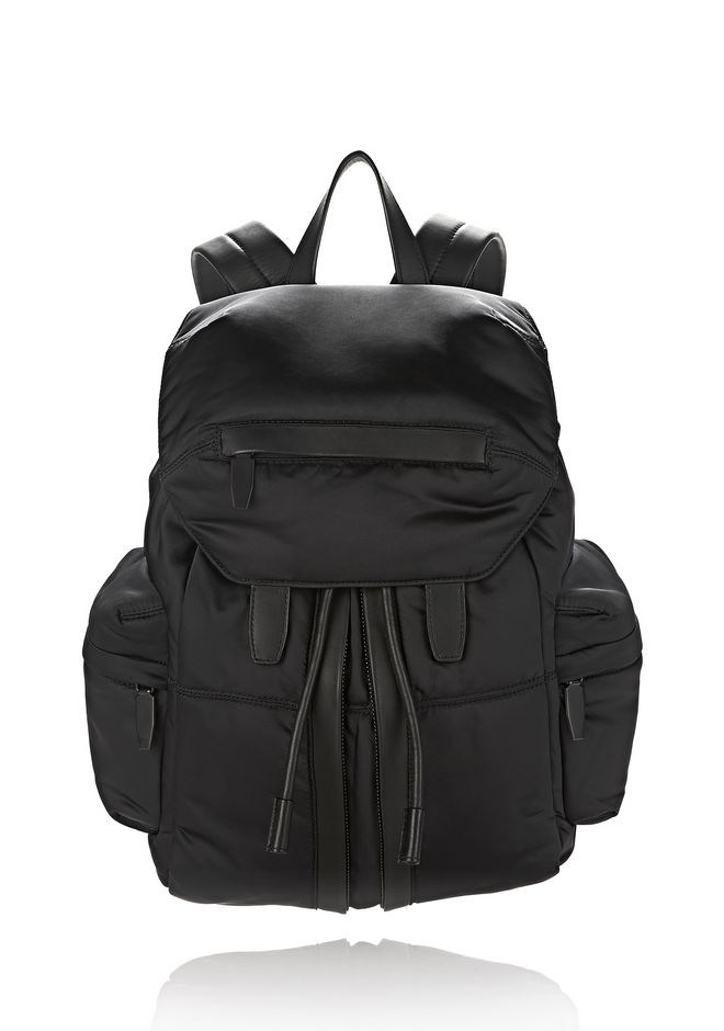 ALEXANDER WANG BACKPACKS MARTI IN BLACK SATIN WITH MATTE BLACK
