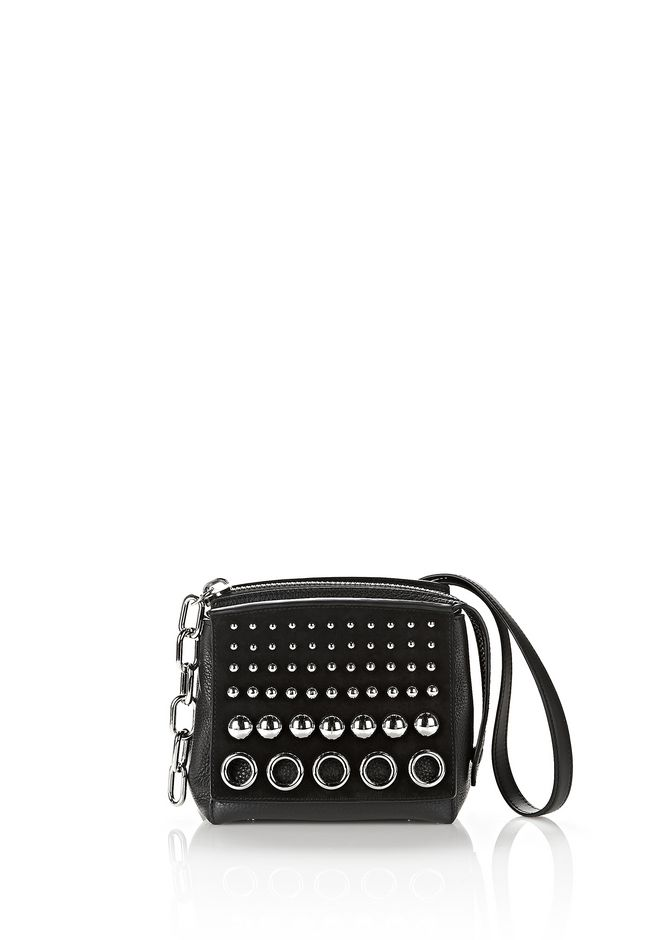 ALEXANDER WANG Shoulder bags Women ATTICA STUDDED FLAP MARION IN BLACK SUEDE