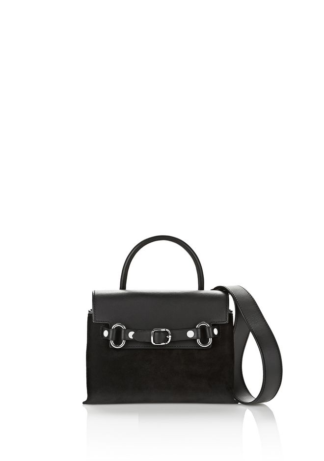ALEXANDER WANG Shoulder bags Women ATTICA MINI CROSSBODY IN BLACK SUEDE WITH RHODIUM