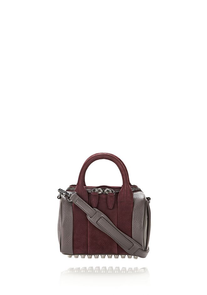 ALEXANDER WANG Shoulder bags MINI ROCKIE IN NUBUCK BEET AND SOFT PEBBLED STONE