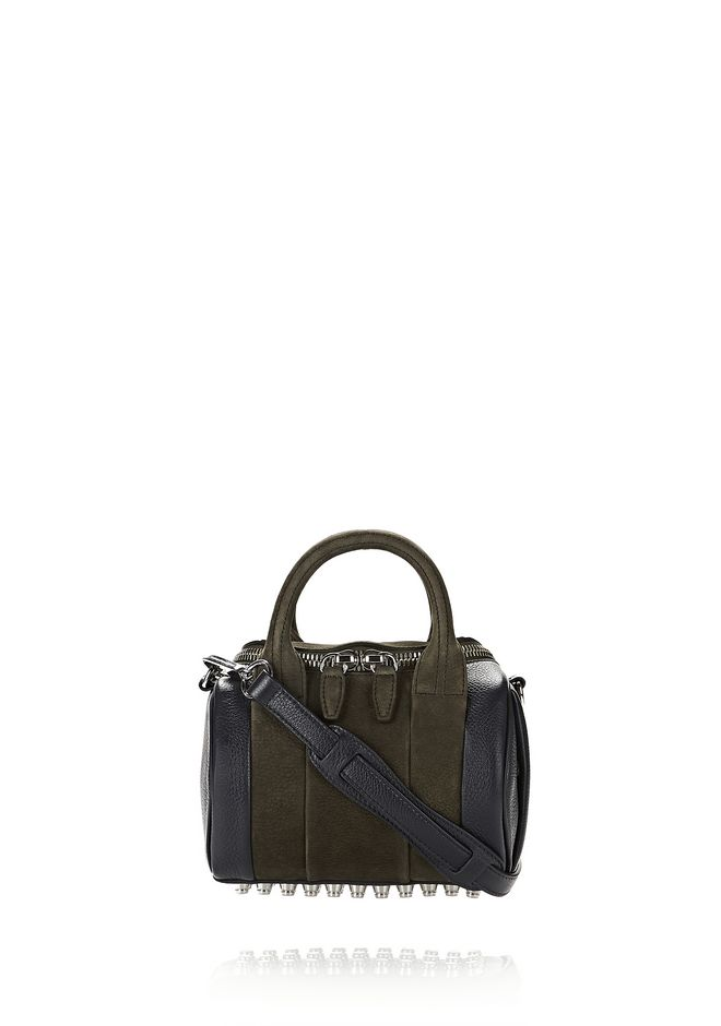 ALEXANDER WANG Shoulder bags MINI ROCKIE IN NUBUCK GRASS AND SOFT PEBBLED NEPTUNE