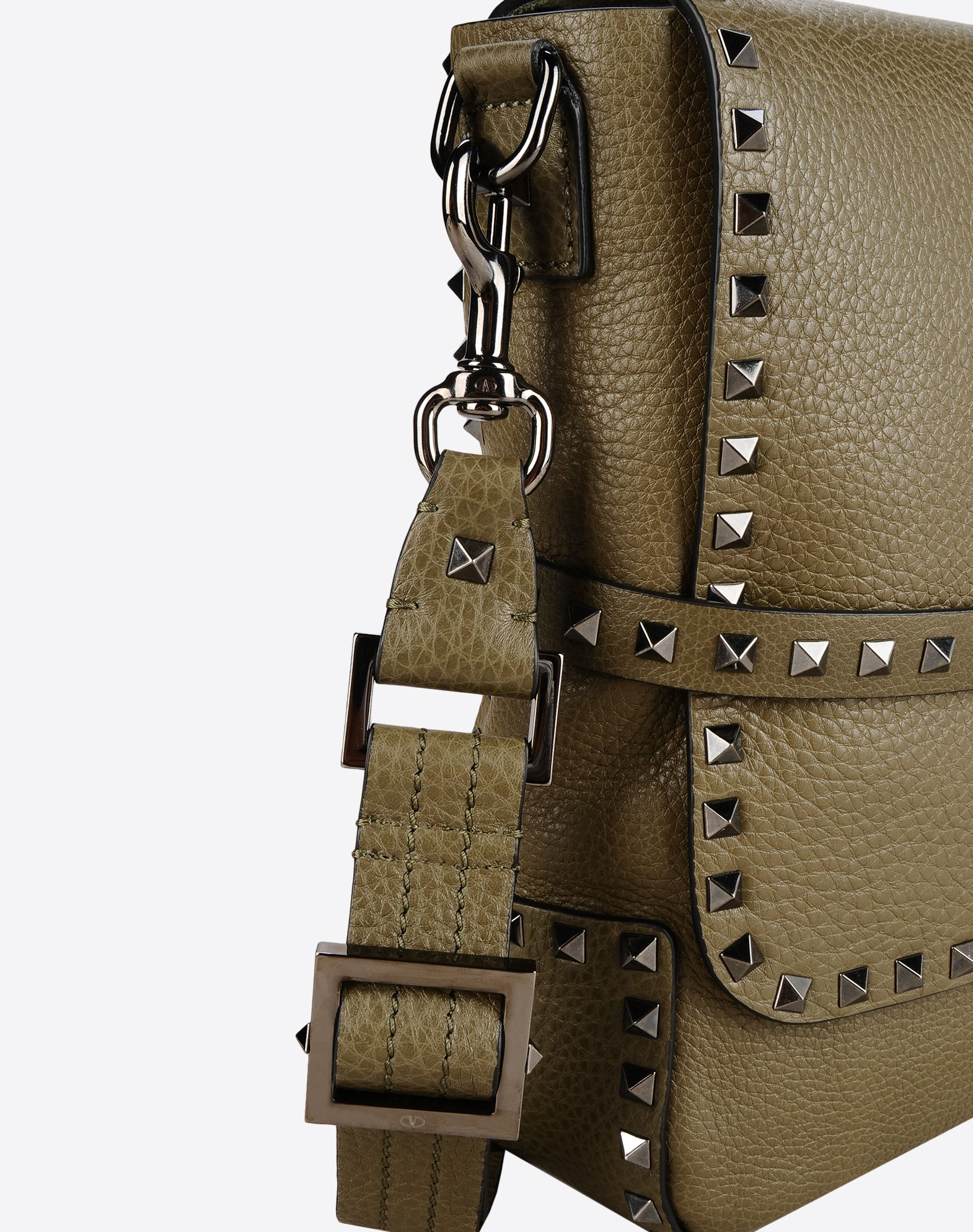 VALENTINO Textured leather Studs Logo Solid color Internal pockets Removable shoulder strap  45321745cq