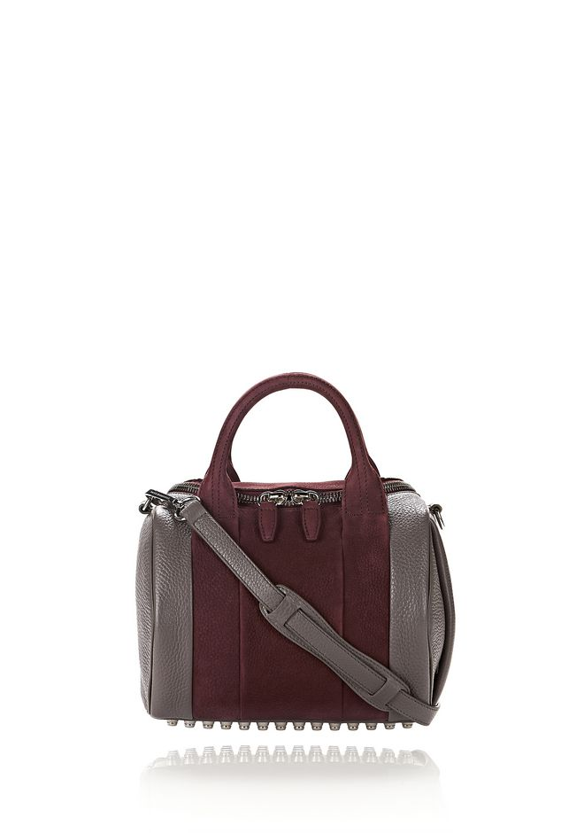 ALEXANDER WANG MESSENGER BAGS ROCKIE IN NUBUCK BEET AND SOFT PEBBLED STONE