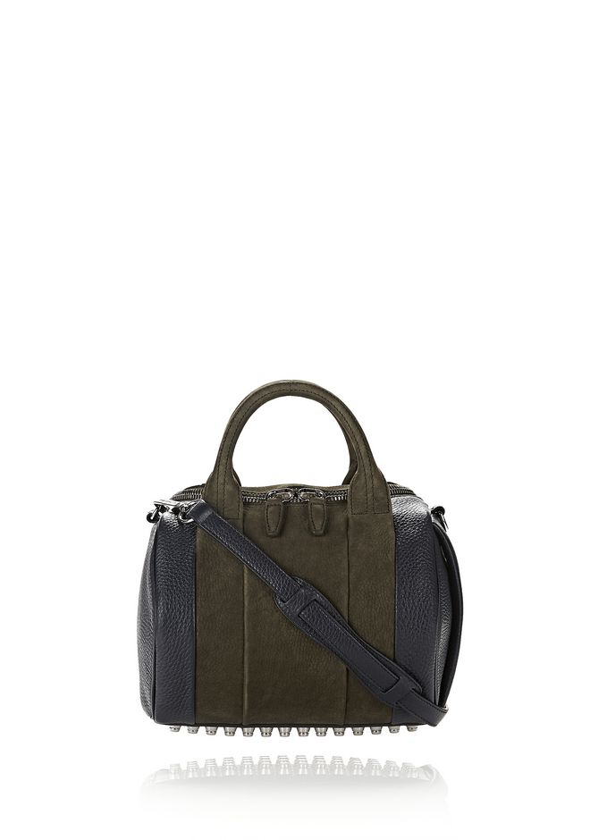ALEXANDER WANG MESSENGER BAGS ROCKIE IN NUBUCK GRASS AND SOFT PEBBLED NEPTUNE