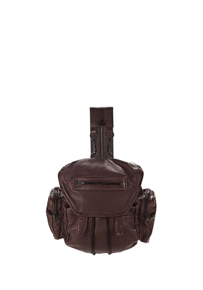 ALEXANDER WANG BACKPACKS Women MINI MARTI IN WASHED BEET WITH MATTE BLACK