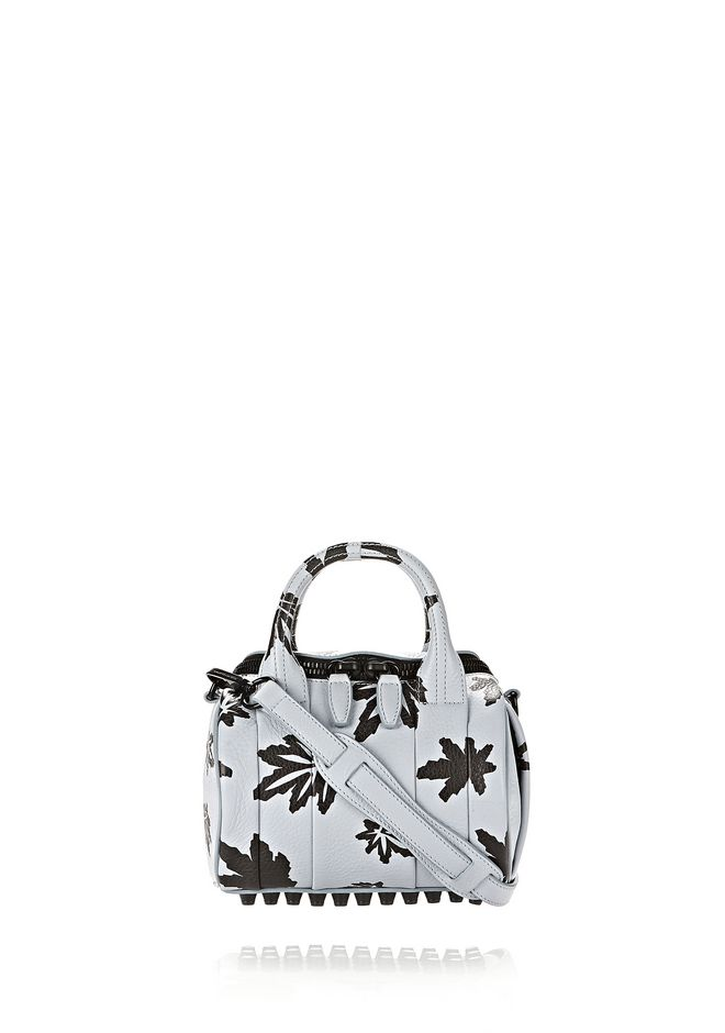 ALEXANDER WANG Shoulder bags MINI ROCKIE IN PALE BLUE WITH LEAF PRINT