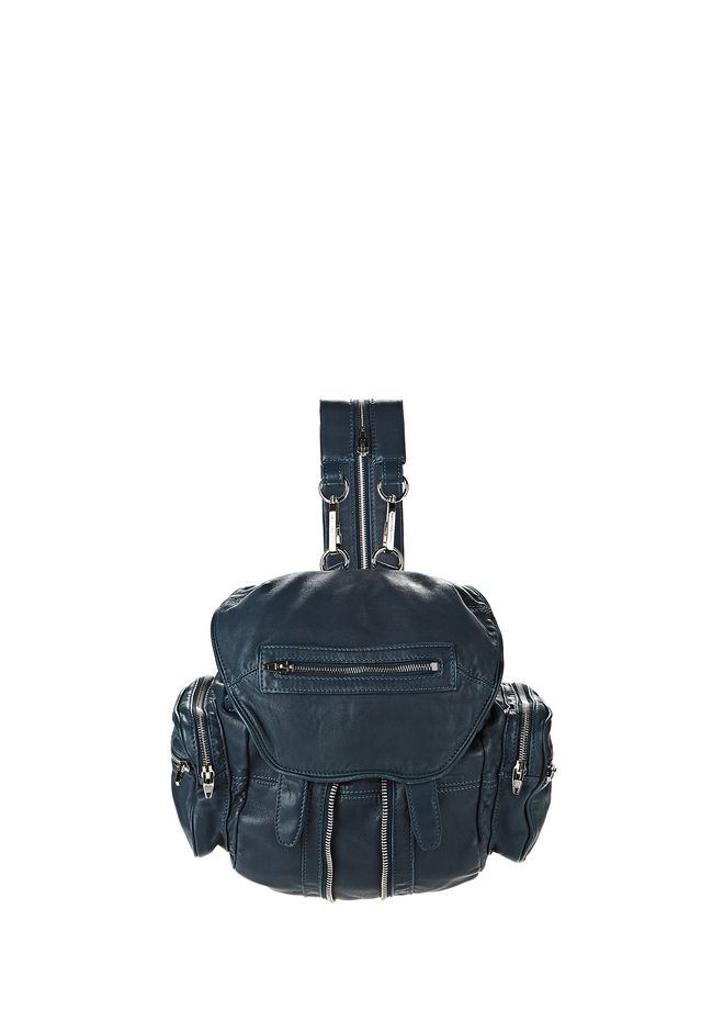 ALEXANDER WANG BACKPACKS Women MINI MARTI IN WASHED PETROL WITH RHODIUM