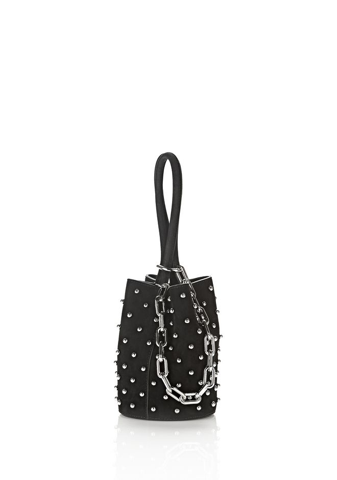 ALEXANDER WANG mini-bags RUNWAY ROXY MINI BUCKET IN STUDDED BLACK SUEDE