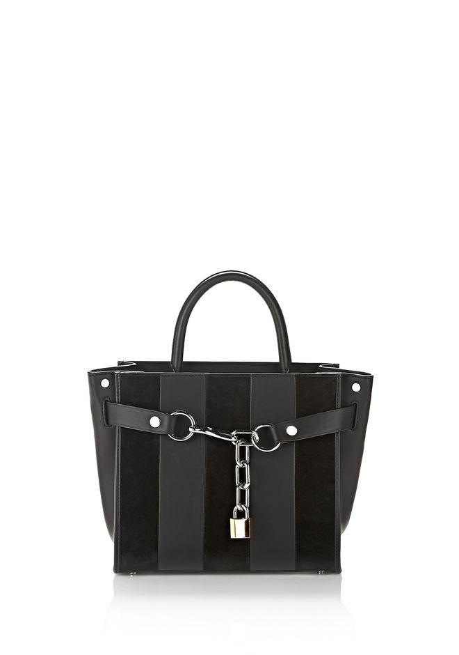 ALEXANDER WANG Shoulder bags Women ATTICA CHAIN SATCHEL IN STRIPED SUEDE WITH RHODIUM
