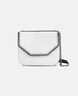 White Falabella Box Alter Croc Shoulder Bag