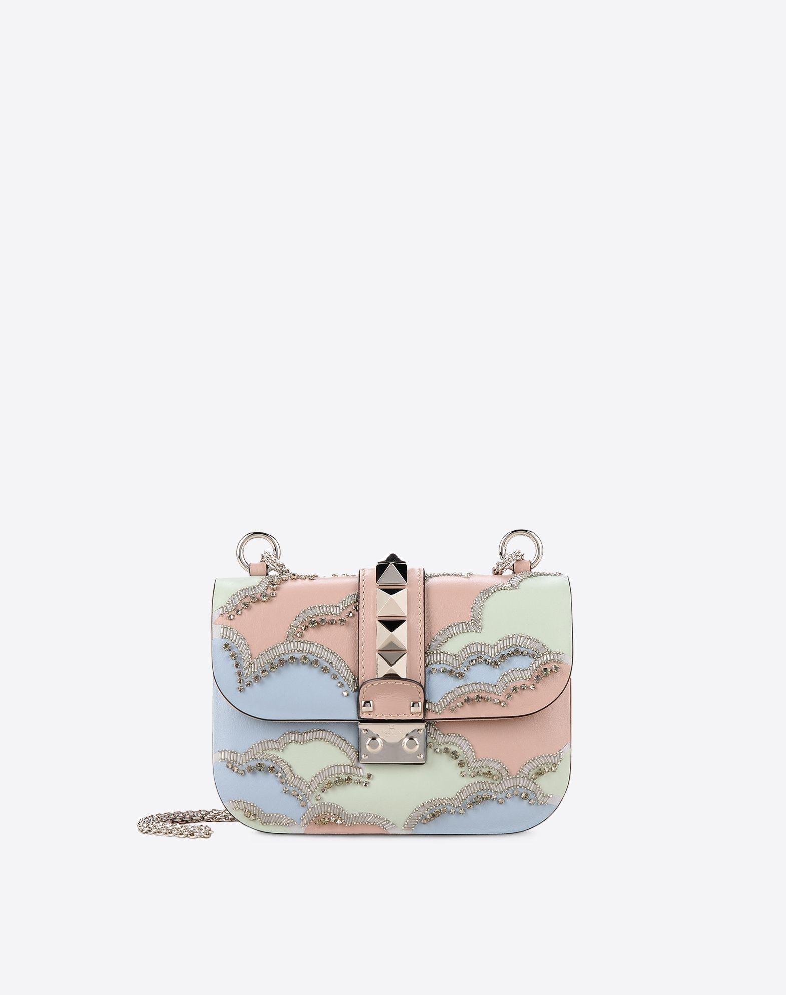 VALENTINO Studs Rhinestones Multicolour Pattern Framed closure Internal zip pocket  45323906lb