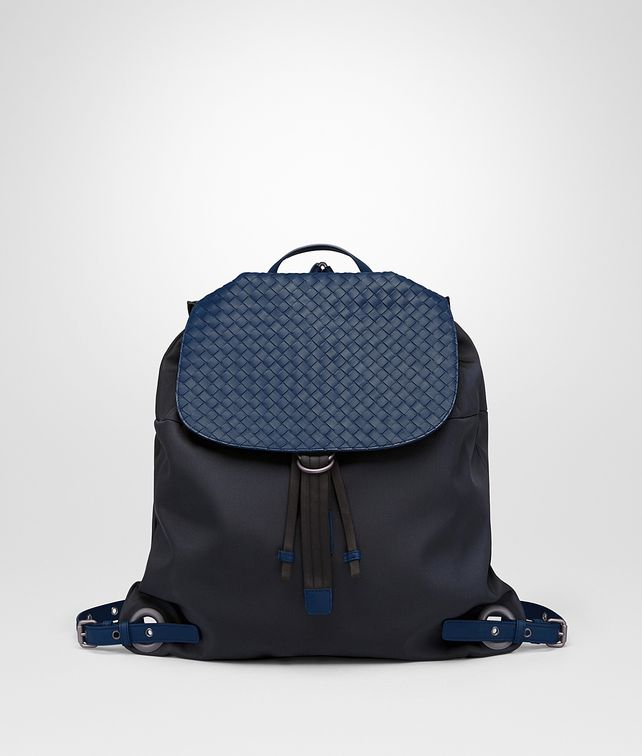BOTTEGA VENETA BACKPACK IN TOURMALINE TECHNICAL CANVAS AND PACIFIC INTRECCIATO CALF Backpack Man fp