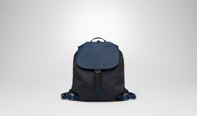 BACKPACK IN TOURMALINE TECHNICAL CANVAS AND PACIFIC INTRECCIATO CALF