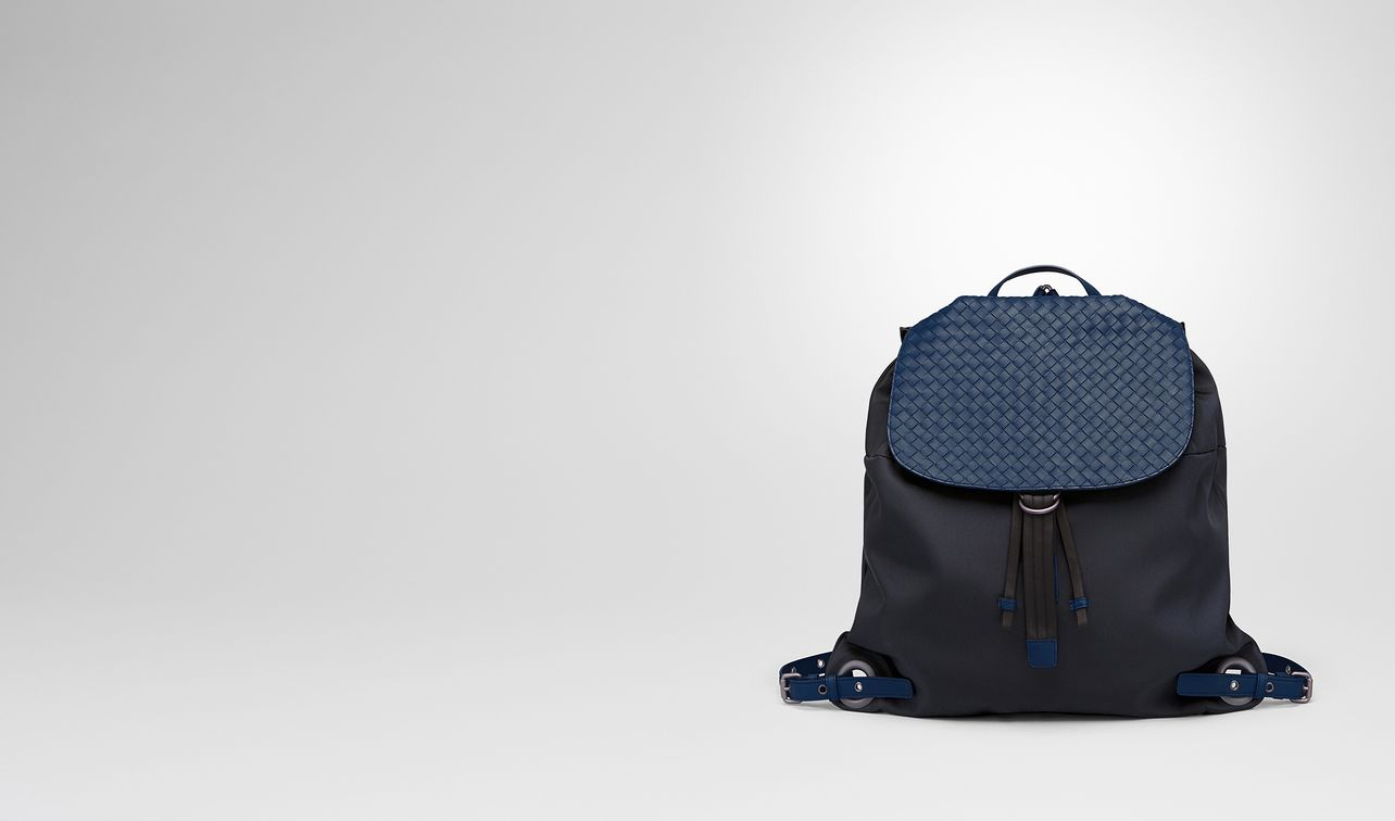 backpack in tourmaline technical canvas and pacific intrecciato calf landing