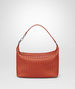 SMALL SHOULDER BAG IN GERANIUM INTRECCIATO NAPPA