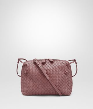 MESSENGER BAG IN DUSTY ROSE INTRECCIATO NAPPA