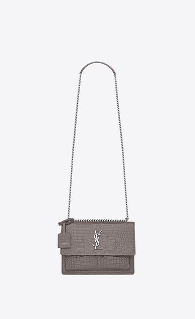 0896bfafe8d3b SAINT LAURENT Sunset Woman Sunset Medium bag in shiny crocodile-embossed  leather V4