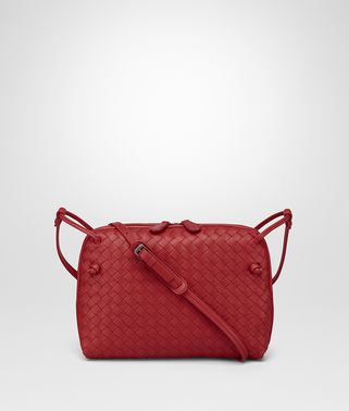 MESSENGER BAG IN CHINA RED INTRECCIATO NAPPA