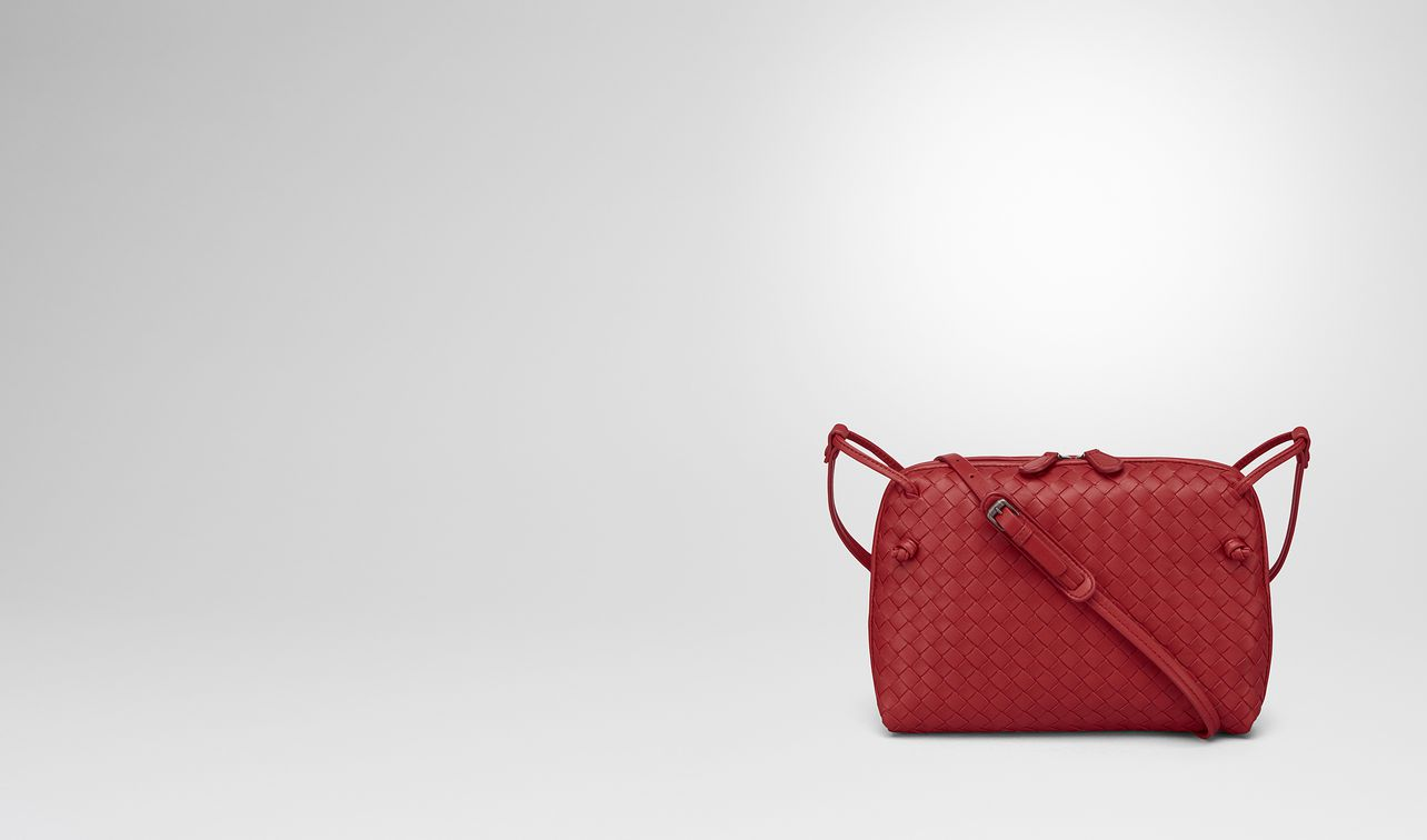 china red intrecciato nappa leather nodini bag landing