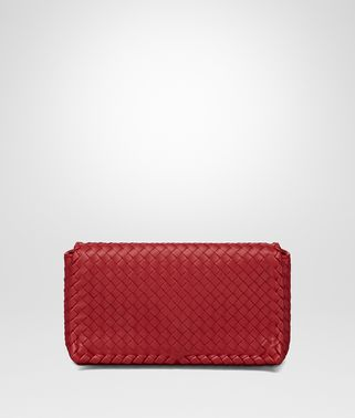CLUTCH BAG IN CHINA RED INTRECCIATO NAPPA